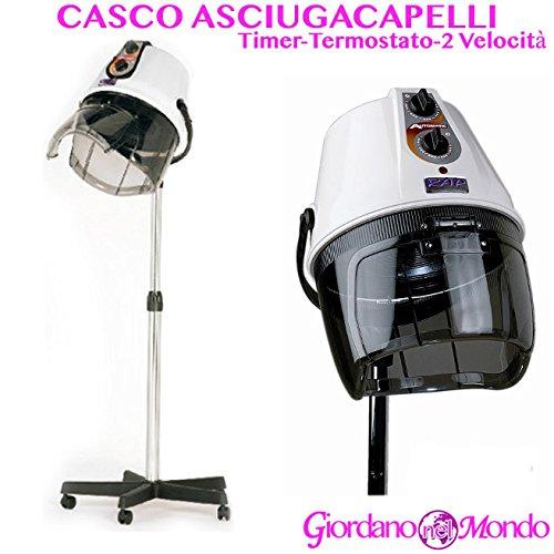 Casco asciugacapelli professionale capelli rap hair made italy bianco per parrucchire