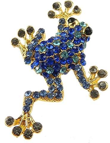 Glamour Girlz Ladies Elegant Frog Lizard Rhinestone Coloured Brooch Blue