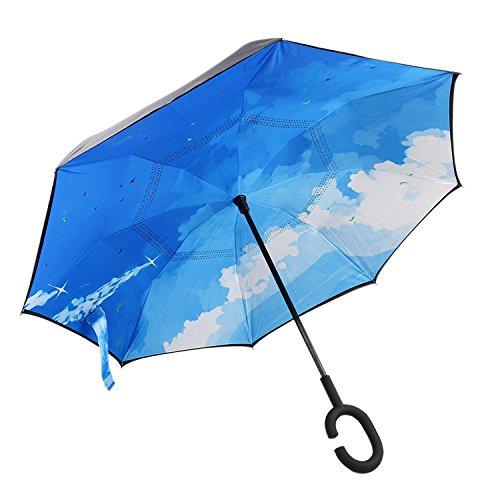 Double Pongés Parapluie Inversé, Kvolity Anti - Ultraviolet Le Vent Et La Pluie Et c De Préférence En Forme De Parapluie Compact Agréable Voyage