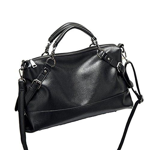 YYW Leather Handbags, Borsa a zainetto donna Black