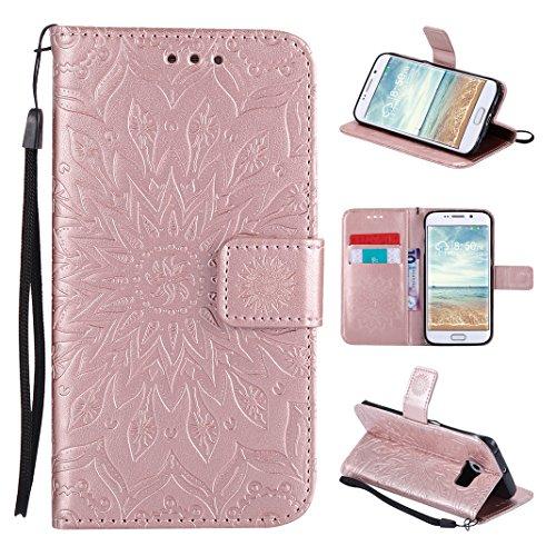 Galaxy S6 Edge Funda, Carcasa Libro de PU de Cuero Impresión Asnlove PU Leather Con TPU Silicona Interna, Soporte Plegable, Ranuras para Tarjetas y Billetera, Cierre Magnético para Samsung Galaxy S6 Edge