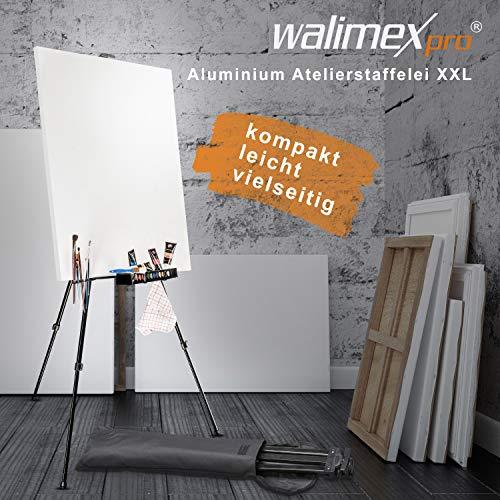 walimex pro Aluminium Atelierstaffelei XXL 205 cm - Alu Malstaffelei groß stabil leicht, Leinwand bis 150cm, 62 - 205 cm hoch, leicht tragbar nur 1,28 kg, klappbar auf 66 cm, inkl. Tasche