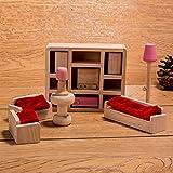 HorBous Puppenhausmöbel Set Holz Puppenhaus Kinderzimmer Badezimmer Schlafzimmer Wohnzimmer Küche Miniatur Möbel Zubehör Puppenhausmöbel Holz (Wohnzimmer)