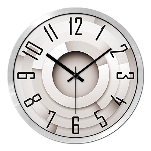 TUNBG Mode 3D Stereo Bedruckte Uhr Wohnzimmer Moderne Einfache Silent Schlafzimmer Wanduhr Quarz Uhr Runde Wanduhr, 14 inches, Metal Silver Frame