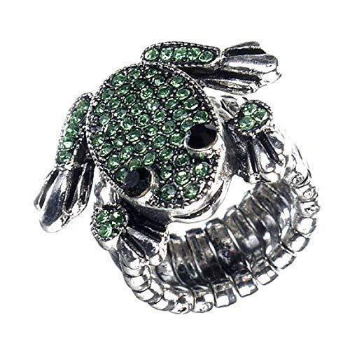 Girlie-Ring mit süßem Frosch, Green Frog, Strass (Strass Green Ab)