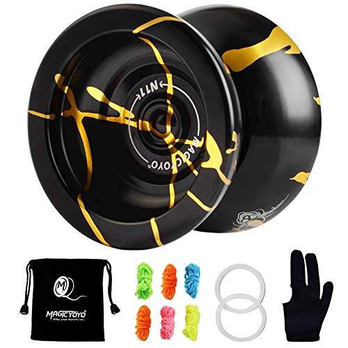 YOSTAR Yoyo Professional MAGICYOYO N11 No responde Aleación de Aluminio Yoyo Sin Respuesta Pro Yoyos con 6 Cuerdas, Guante y Bolsa de yo-yo (Negro con Dorado)