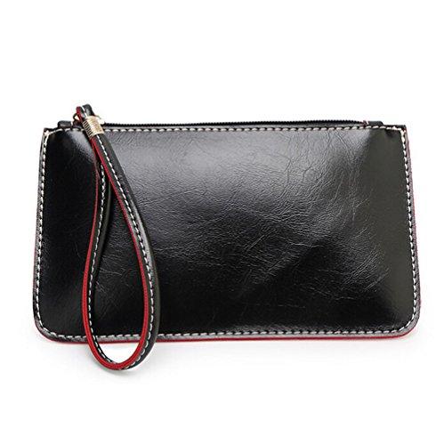 YARBAR sólido del embrague del bolso del teléfono de cuero bolso monedero de la cartera para las