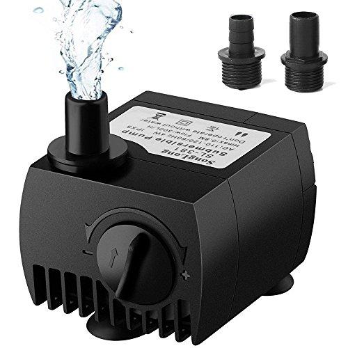 SeeKool Mini Bomba de Agua Ultra Silencioso 300L/H Submersible Pump 3W Circulation Pump con 2 Boquillas para Pecera Acuario Jardín, Fuente, Estanque Sistemas Hidropónicos