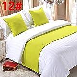 pomid Bett Renner Dekoration Bett-Schal Bett Flagge, Bett Dekoration hochwertige einfarbig Bett Schwanz Streifen, hellgrau 12# (Fluoreszierendes Grün) Hanf, 2m Bett (Größe: 50x260cm)