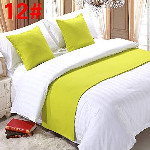 pomid Bett Renner Dekoration Bett Schal Bett Flagge, Bett Dekoration hochwertige einfarbig Bett Schwanz Streifen, hellgrau 12# (fluoreszierend grün) Hanf, Kissen (Kissen) Ärmel (45x45cm) -