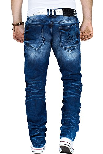 Cipo & Baxx Herren Jeans Freizeit Hose Streetwear Totenkopf Dope Swag Skull Blau