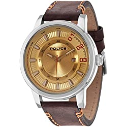 Police Men's Quartz Watch with Beige Dial Analogue Display and Brown Leather Strap 14375JS/07