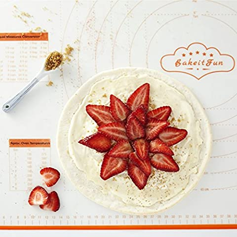 BakeitFun X-large Silicone Pastry Mat With Measurements, 75 X 52 CM Non Stick BPA Free Baking Tool That's Perfect For Rolling Dough And As A Fondant Surface As It Fully Sticks To Countertop, Orange