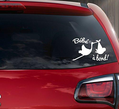 Sticker autocollant bébé à bord cigogne