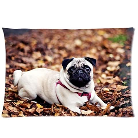 Personalized Pug Dog Pillowcase Standard Size 20x30 (one side) Soft Pillow Cover Case GPGP-387 by Apple Online Pillowcase