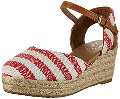 Wrangler Bella Stripes, Sandales Bout ouvert femme - rouge - Rot (RED/OFF WHITE), 38 EU