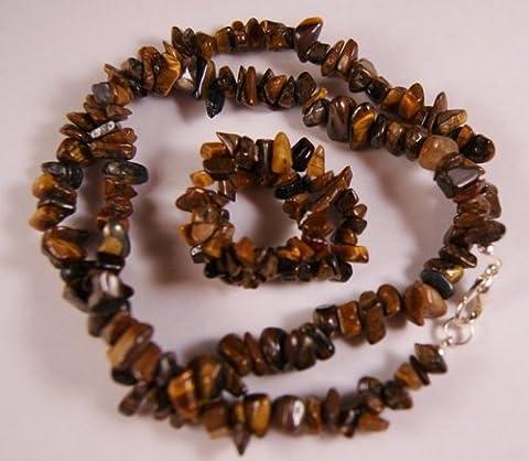 Œil de tigre doré cristaux & Bracelet Collier