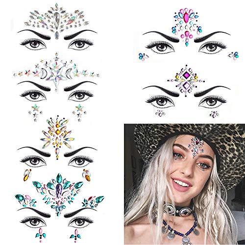 6 Stück Gesicht Juwelen,Strass Festival Gesicht Edelsteine,Kristall Temporäre Tattoos Aufkleber,Glitzer Make-up für Feste, Party, Karneval, Halloween