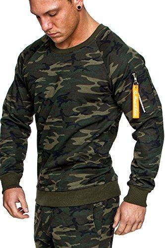 Amaci&Sons Herren Cargo Pullover Sweatshirt Hoodie Sweater Camouflage 4006 Camo Khaki L
