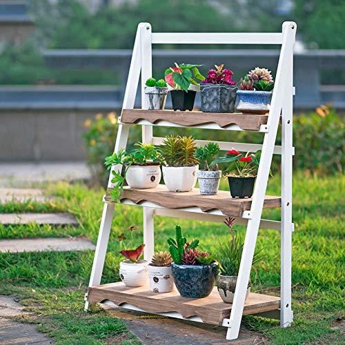 YAHAO Escalera para Macetas Exterior Plantas Soporte Decorativo para Jardín con 3 Niveles Escalera Madera para Plantas Exterior Interior Jardín,White-50cm