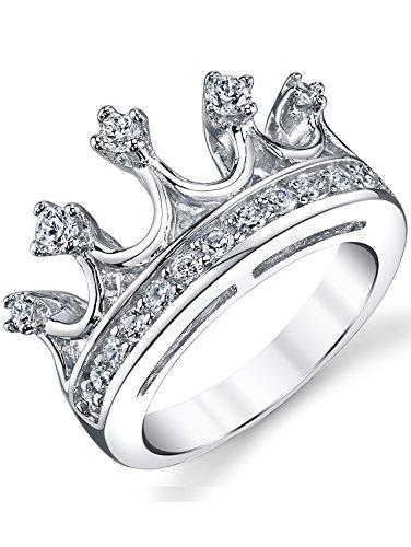 Ultimate Metals Co. Damen Sterling Silber 925 Krone Ring mit zirkonia,Bequemlichkeit Passen,Größe 52 (Ring Mit Krone)