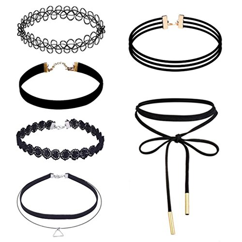 Sunnywill 6 Stück Choker Halskette Set Stretch samt klassische gotische Tattoo Spitze Choker für...