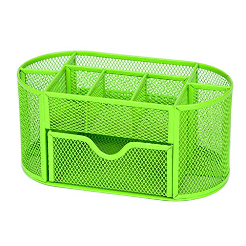 DQANIUStifthalter, Mode 9 Fächer Bleistift und Stifthalter Office Desk Supplies Organizer Desktop Metall Storage Mesh, 3 Farben