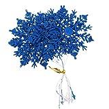 P Prettyia 12x Weihnachtsbaumschmuck Hängedeko Dekofigur Anhänger Ornamente mit Schneeflocken Form - Blau 2