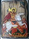 IconsGr Ícono Cristiano ortodoxo Griego de San Jorge montado en su Caballo y Matando Bestia, de Madera, Hecho a Mano / R3