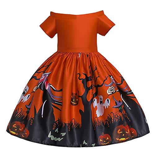 Kostüm Tanzabend Kinder - CIPOGL Baby Mädchen Halloween Prinzessin Kleid Kurzarm Spitze Patchwork Tutu Festlich Kleid Hochzeit Partykleid Halloween Cosplay Partei Kostüm Abendkleid (Orange, 130)