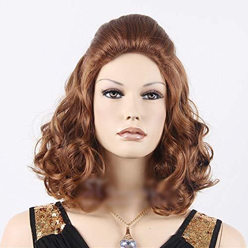 Haarverlängerung Fashian Classic Maroon Lady Kurze geschweifte Schulterlänge für Cosplay Party Halloween Kostüm (Farbe : Photo Color) (Women's Classic Beauty Kostüm)