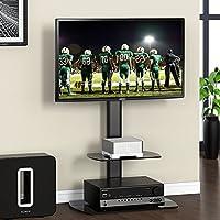 FITUEYES Meuble Télé Pied Support Pivotant TV Ecran de 32 à 50 Pouces LED LCD Plasma 2 Etagères en Verre Trempé TT206501GB