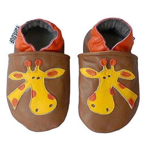 PantOUF chaussons bébé en cuir souple Marron avec une girafe