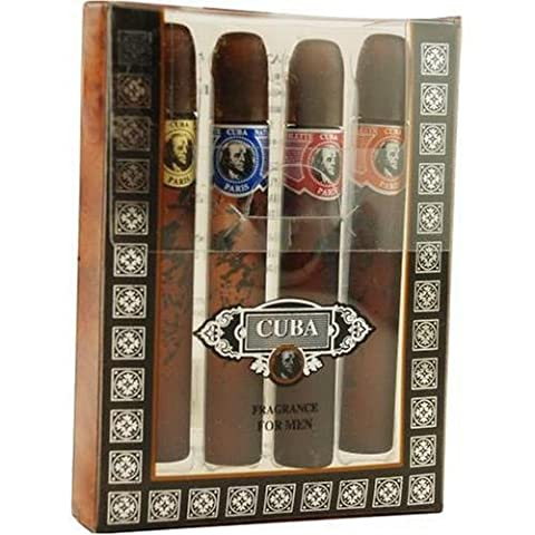 Cuba Variety By Cuba For Men. Set-4 Piece Mini Variety With Cuba Gold, Red, Blue, & Orange & All Are .17 OZ by Cuba