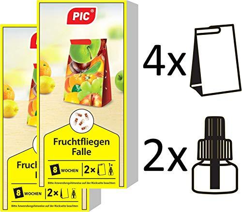 PIC - Fruchtfliegenfalle, Obstfliegenfalle und Essigfliegenfalle - 4 Leimfallen mit 2 Lockstoffbehältern - Mittel um Fruchtfliegen zu bekämpfen - Geeignet für die Küche (4 Pic Auf)