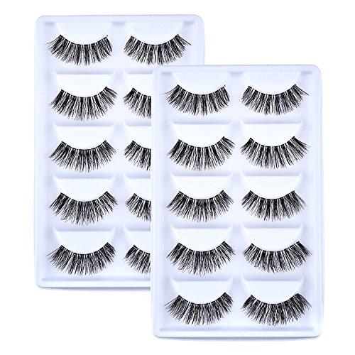 10 Pairs Handmade 3D False Eyelashes Natural Look Eyelashes Extension Makeup (0.6 Inch)