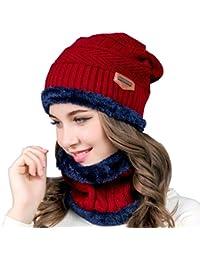 Cappello caldo in maglia e sciarpa cerchio Cappello da sci Cappello da  sport esterno Set di 5370152128cf