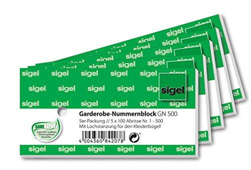 SIGEL GN500 Garderoben-Nummernblöcke mit Lochstanzung, 500 Bons (nummeriert 1-500, 10,5 x 5 cm)