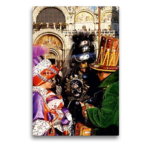 Calvendo Premium Textil-Leinwand 50 cm x 75 cm hoch, EIN Motiv aus dem Kalender Masken der Sehnsucht - Karneval in Venedig | Wandbild, Bild auf Keilrahmen. Leinwand, Leinwanddruck Kunst - Venezia Carnevale Kostüm