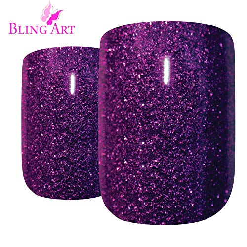 Art bling faux ongles français Manucure Gel pourpre Glitter Moyen 24 Conseils UK