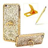 Soft TPU Case for iPhone 6S,Glitter Gold Silicone Case for iPhone 6,Herzzer Luxury Diamond Electroplated Frame Crystal Flower Clear Back Case with Ring Stand Holder for iPhone 6/6S 4.7 inch + 1 x Free Yellow Cellphone Kickstand + 1 x Free Yellow Stylus Pen