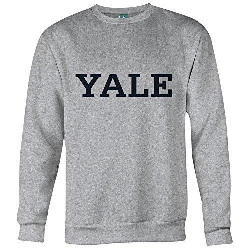 Ivysport Yale University Baumwolle Rundhalsausschnitt Sweatshirt mit offiziellem Classic Logo, 90% Baumwolle 10% Polyester, Heather Grey, Unisex, Grau Meliert, XX-Large