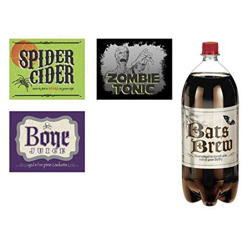 NET TOYS 4 STK. Halloween Flaschenetiketten Flaschen Aufkleber Getränke Etiketten Set Sticker Dekomaterial Horror Artikel (Halloween Flaschen Etiketten)