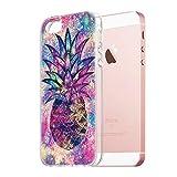 Pnakqil Coque iPhone Se / 5s / 5, Etui en Silicone 3D Transparent avec Motif Fantaisie Design Anti Choc TPU Housse Couverture arrière Case Cover Coque pour Apple iPhoneSE, Ananas 04