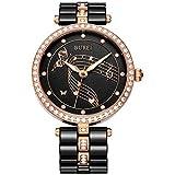 BUREI Femme Swarovski Cristaux Bracelet en céramique Noir Pointeur lumineux montre à quartz montre-bracelet