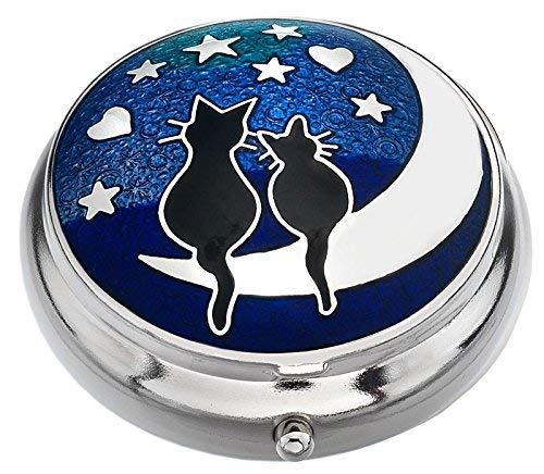 """J R Schmuck 427843 Sea Gems in Geschenkbox-Katzen auf Dem Mond \""""Love\"""", Versilbert, Pillendose, 9011"""