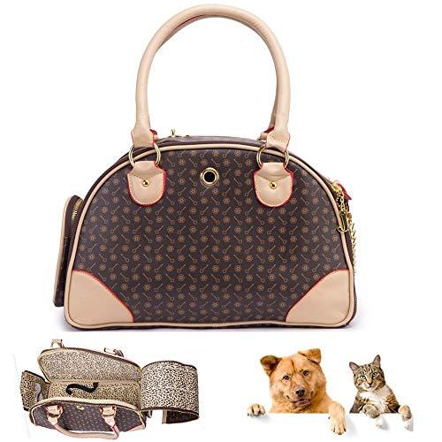 YCGJ Pet Carrier Welpen Chihuahua Katze Hund Bunny Tote Reisetasche Handtasche Tragbare Tragetasche PU Leder Handtasche Haustier Hund,Brown,S -