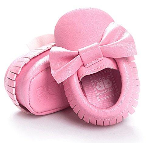 Happy Cherry Babyschuhe Frühlings Lauflernschuhe Kids Unisex Herbst Baby Schuhe Innenlänge 11cm Weiche Sohle Kleinkind Toddler Geschenk Krabbelschuhe mit Fliege - Farbe/Größe Wählbar Pink