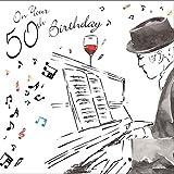 twizler Happy 50th Birthday Karte für Ihn mit Silber folieren und einzigartige Wasserfarben Effekt–Musik und Klavier–50Jahre–Alter 50Geburtstag–Stecker Geburtstag Karte