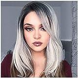 Alexsix Frauen Medium Lange Natürliche Gerade Perücke Gemischte Farbe Synthetische Haar Cosplay Volle Perücken